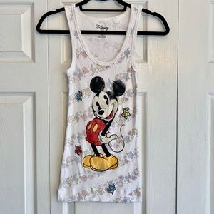 DISNEY white ribbed sparkly Mickey Mouse tank L